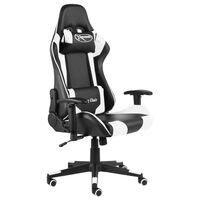 vidaXL datorspēļu krēsls, grozāms, balts, PVC