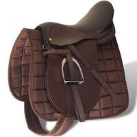 Zirgu seglu / sedlu komplekts 40.64 cm, āda brūni 14 cm 5 piederumi