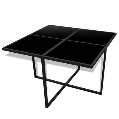 vidaXL 13-daļīgs dārza mēbeļu komplekts ar matračiem, PE pinums, melns