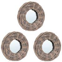 vidaXL spoguļi, 3 gab., 15 cm, pīti
