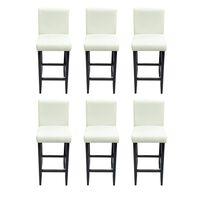 vidaXL bāra krēsli, 6 gab., balta mākslīgā āda