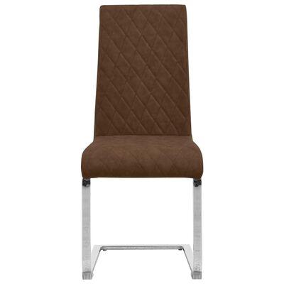 vidaXL konsoles virtuves krēsli, 2 gab., brūna mākslīgā āda