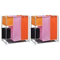 vidaXL 3-daļīgi veļas grozi ar mazgāšanas kasti, 2 gab.