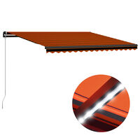 vidaXL izvelkama markīze ar LED, manuāla, 450x300 cm, oranža un brūna
