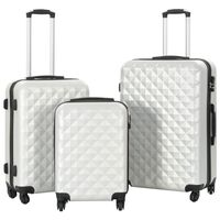 vidaXL cieto koferu komplekts, 3 gab., ABS, sudraba krāsā