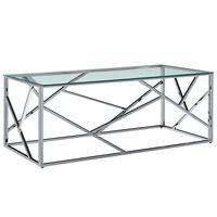 vidaXL kafijas galdiņš, caurspīdīgs, 120x60x40 cm, rūdīts stikls