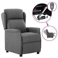 vidaXL elektrisks atpūtas krēsls, atgāžams, gaiši pelēks audums