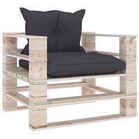 vidaXL dārza palešu dīvāns ar antracītpelēkiem matračiem, priede