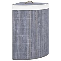 vidaXL stūra veļas grozs, pelēks bambuss, 60 L