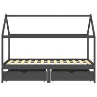 vidaXL gultas rāmis ar atvilktnēm, pelēks, priedes masīvkoks, 90x200cm