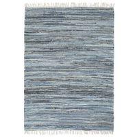 vidaXL Chindi paklājs, zils, 160x230 cm, pīts ar rokām, džinss