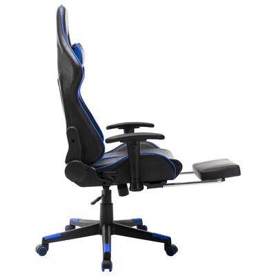 vidaXL datorspēļu krēsls ar kāju balstu, melna un zila mākslīgā āda