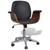 vidaXL biroja krēsls, grozāms, izliekts koks un mākslīgā āda