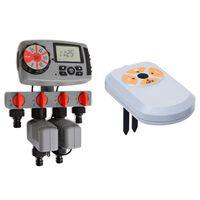 vidaXL automātiskais laistīšanas taimeris, 4 stacijas, mitruma sensors