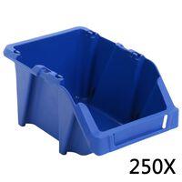 vidaXL mantu uzglabāšanas tvertnes, 250 gab., 103x165x76 mm, zilas