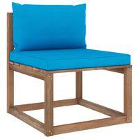 vidaXL vidējais dārza palešu dīvāns ar gaiši ziliem matračiem