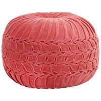 vidaXL pufs, kokvilna, samta izskats, 40x30 cm, rozā