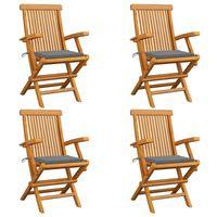 vidaXL dārza krēsli, pelēki matrači, 4 gab., masīvs tīkkoks