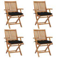 vidaXL saliekami dārza krēsli ar matračiem, 4 gab., masīvs tīkkoks