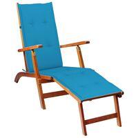 vidaXL atpūtas krēsls ar kāju balstu un matraci, akācijas masīvkoks