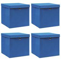 vidaXL uzglabāšanas kastes ar vāku, 4 gab., 32x32x32 cm, zils audums