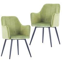 vidaXL virtuves krēsli, 2 gab., gaiši zaļš samts