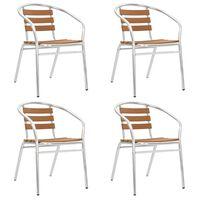 vidaXL dārza krēsli, 4 gab., alumīnijs un WPC, saliekami viens uz otra