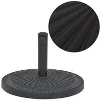 vidaXL saulessarga pamatne, sveķu materiāls, apaļa, melna, 14 kg
