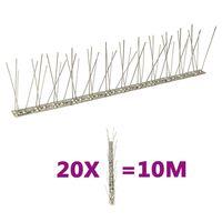 vidaXL putnu atbaidīšanas radzes, 2 rindas, 20 gab., 10 m, tērauds