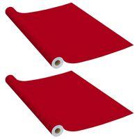vidaXL mēbeļu līmplēves, 2 gab., sarkanas, 500x90 cm, PVC