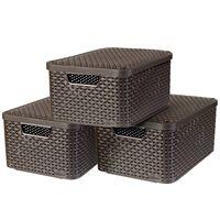 Curver Style uzglabāšanas kastes ar vāku, 3 gab., M, brūnas, 240655
