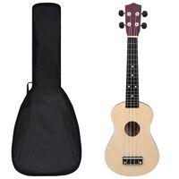"""vidaXL soprāna bērnu ukulele ar somu, gaiša koka krāsā, 23"""""""