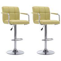 vidaXL bāra krēsli, 2 gab., zaļš audums