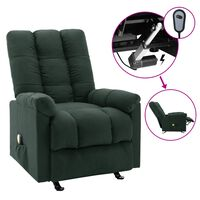 vidaXL elektrisks masāžas krēsls, atgāžams, tumši zaļš audums