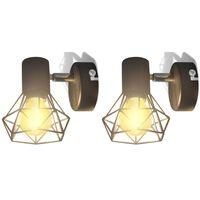 Sienas lampas, 2 gab., LED spuldzes ģeometriskos ietvaros, melnas