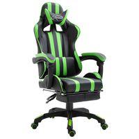 vidaXL datorspēļu krēsls ar kāju balstu, zaļa mākslīgā āda