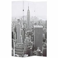 vidaXL istabas aizslietnis, 120x170 cm, saliekams, Ņujorka, melnbalts