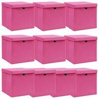 vidaXL uzglabāšanas kastes ar vāku, 10 gab., 32x32x32 cm, rozā audums