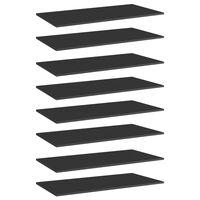 vidaXL plauktu dēļi, 8 gab., spīdīgi melni, 80x30x1,5cm, skaidu plātne