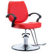 vidaXL frizieru krēsls, sarkans, mākslīgā āda