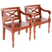 vidaXL Batavia krēsli, 2 gab., tumši brūni, masīvs sarkankoks