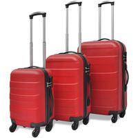 vidaXL trīs koferi ar riteņiem, sarkanā krāsā