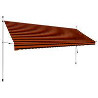 vidaXL izvelkama markīze, manuāla, 400 cm, oranža un brūna
