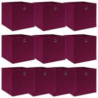 vidaXL uzglabāšanas kastes, 10 gab., 32x32x32 cm, tumši sarkans audums