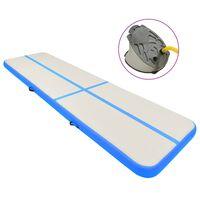 vidaXL piepūšams vingrošanas paklājs ar pumpi, 600x100x20 cm, zils PVC