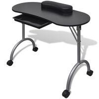 Saliekams manikīra galds ar ritentiņiem, melns