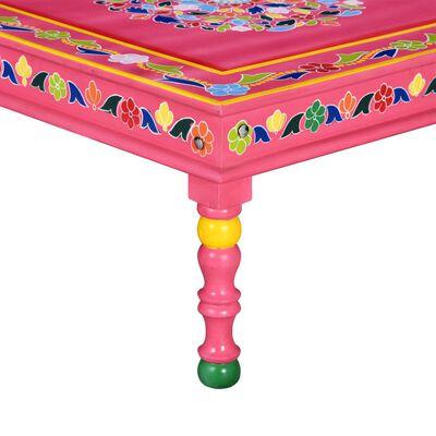 vidaXL kafijas galdiņš, mango masīvkoks, rozā, apgleznots