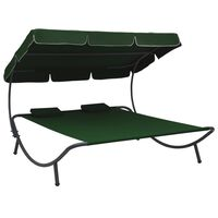 vidaXL Outdoor Lounge Bed with Canopy and Pillows Green