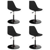 vidaXL grozāmi virtuves krēsli, 4 gab., melna plastmasa