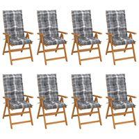 vidaXL dārza krēsli ar matračiem, atgāžami, 8 gab., masīvs tīkkoks